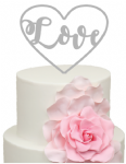 Love written in Heart Acrylic Cake Topper